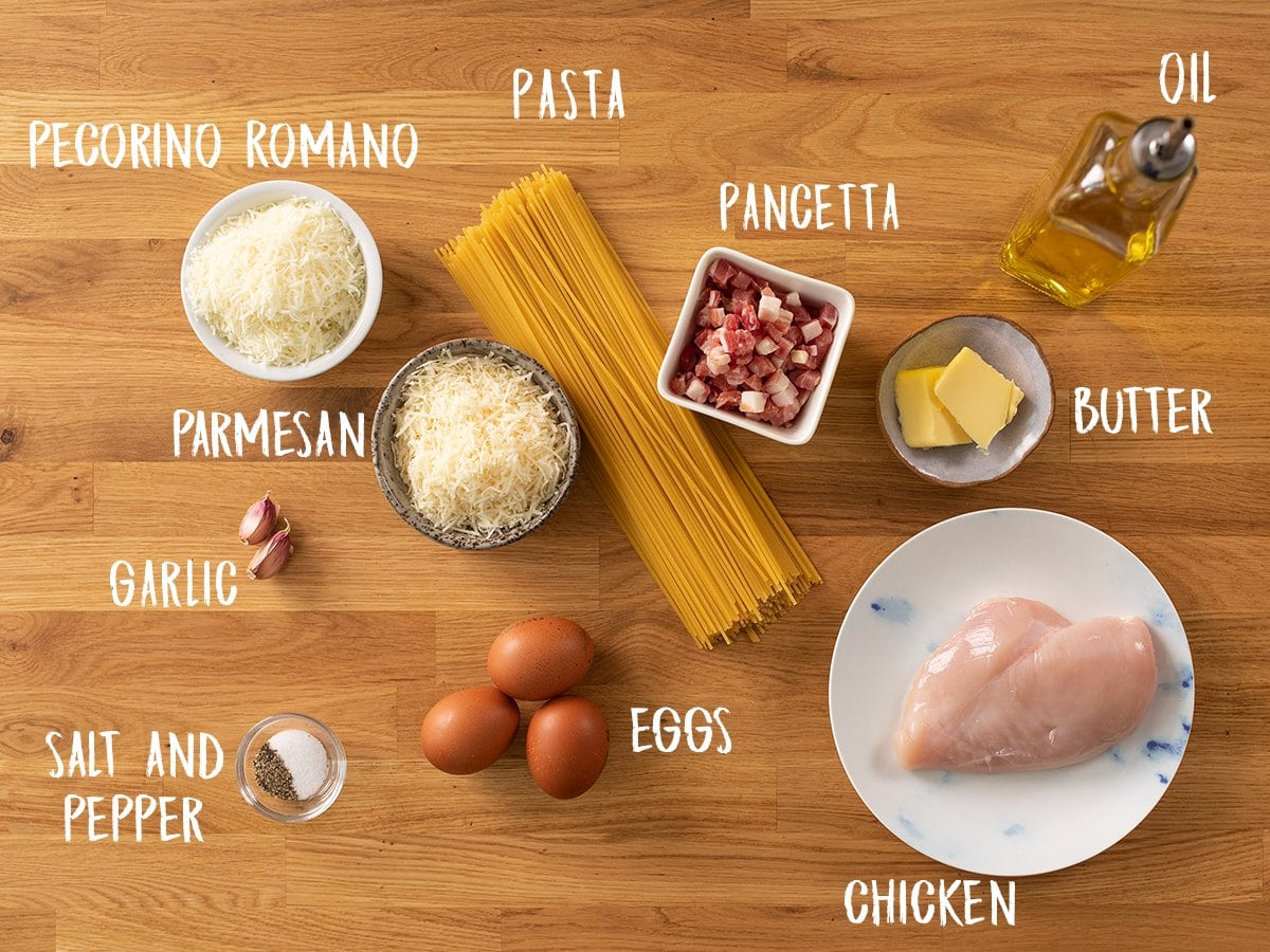 Ingredients for chicken carbonara on a wooden table