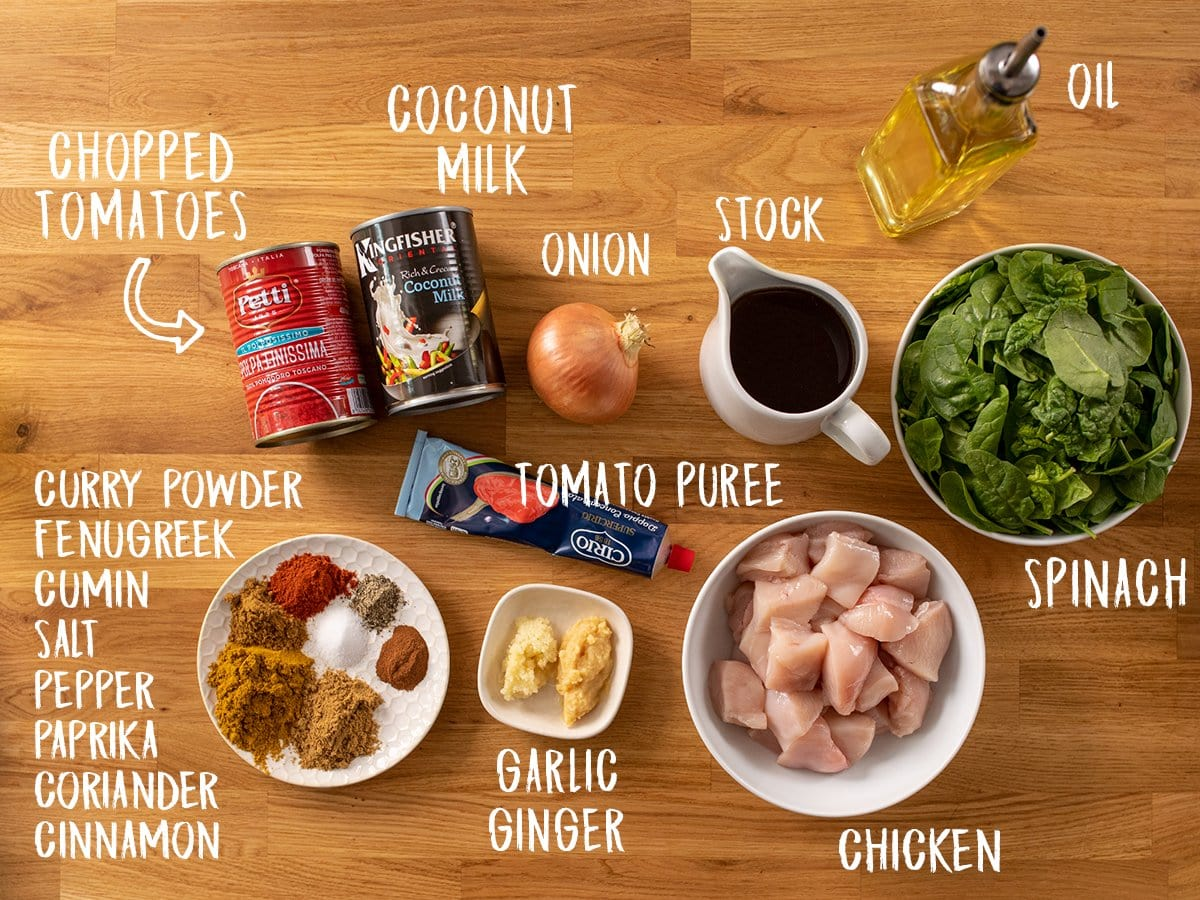 Ingredients for easy chicken curry on a wooden table