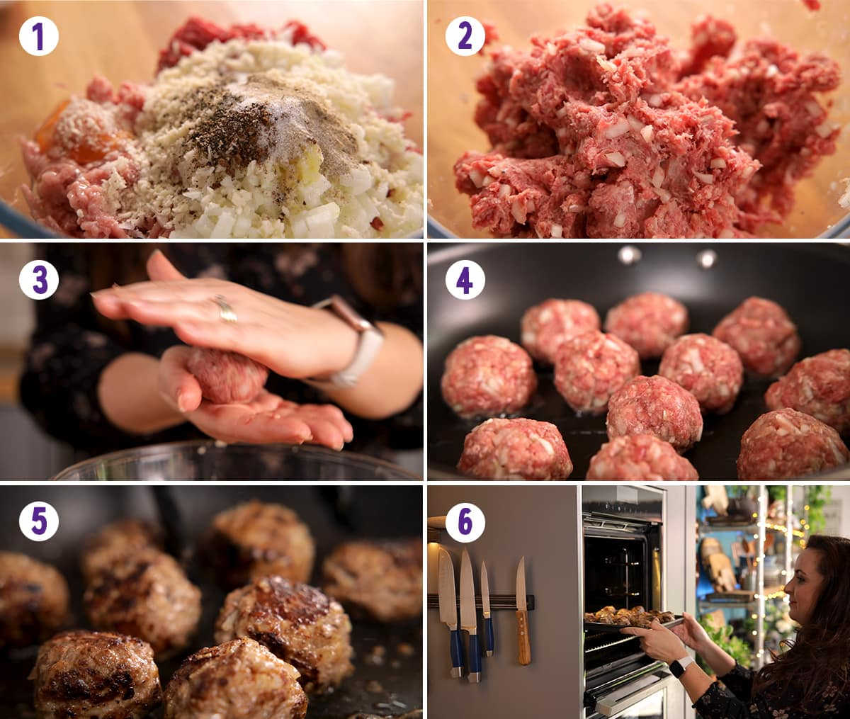 6 image collage showing how to make the meatballs for Swedish meatballs