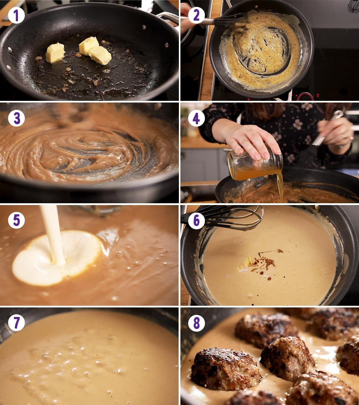 8 image collage showing how to make the sauce for Swedish meatballs