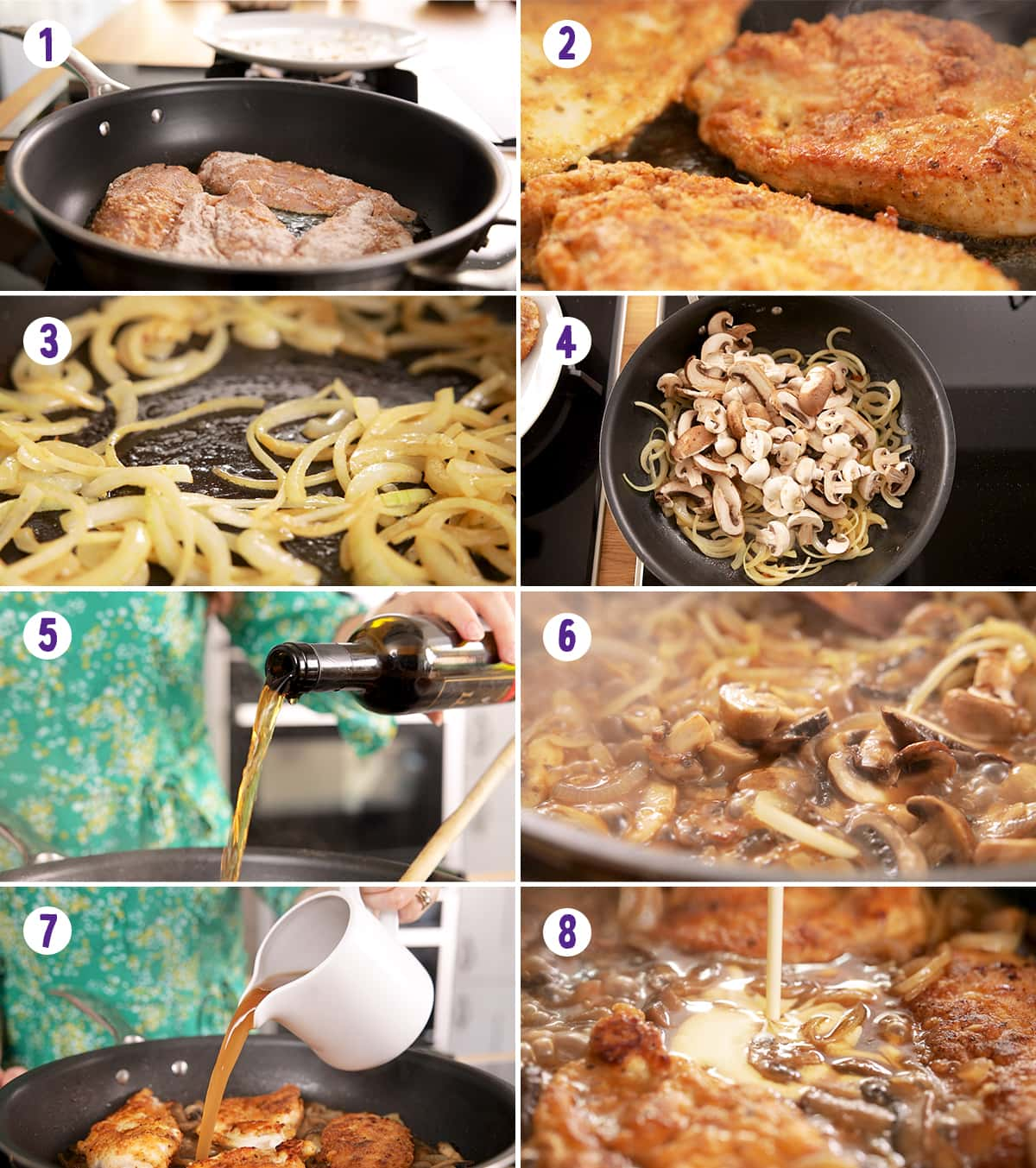 8 image collage showing how to make chicken marsala