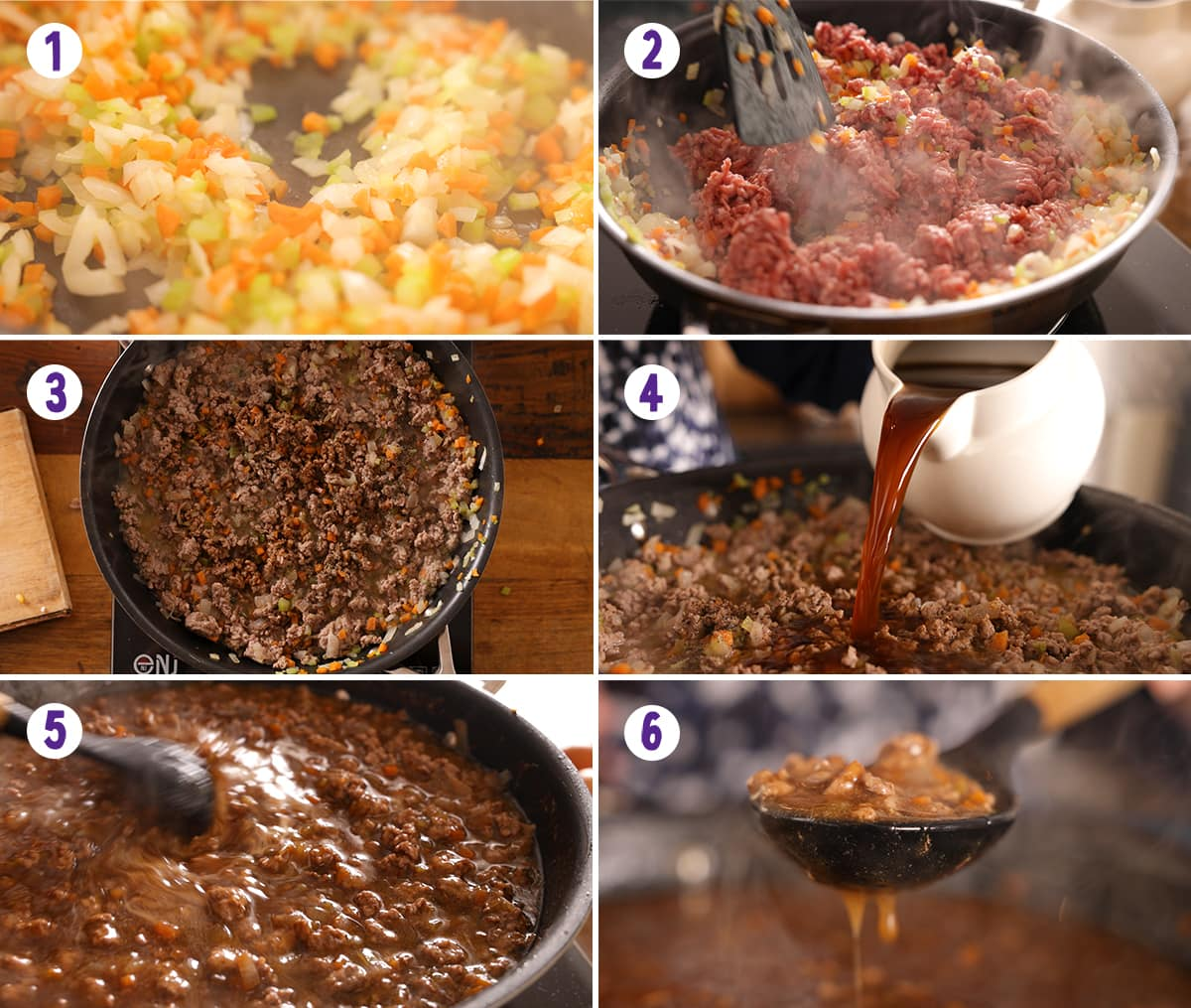 6 image collage showing initial steps for making Shepherd's pie
