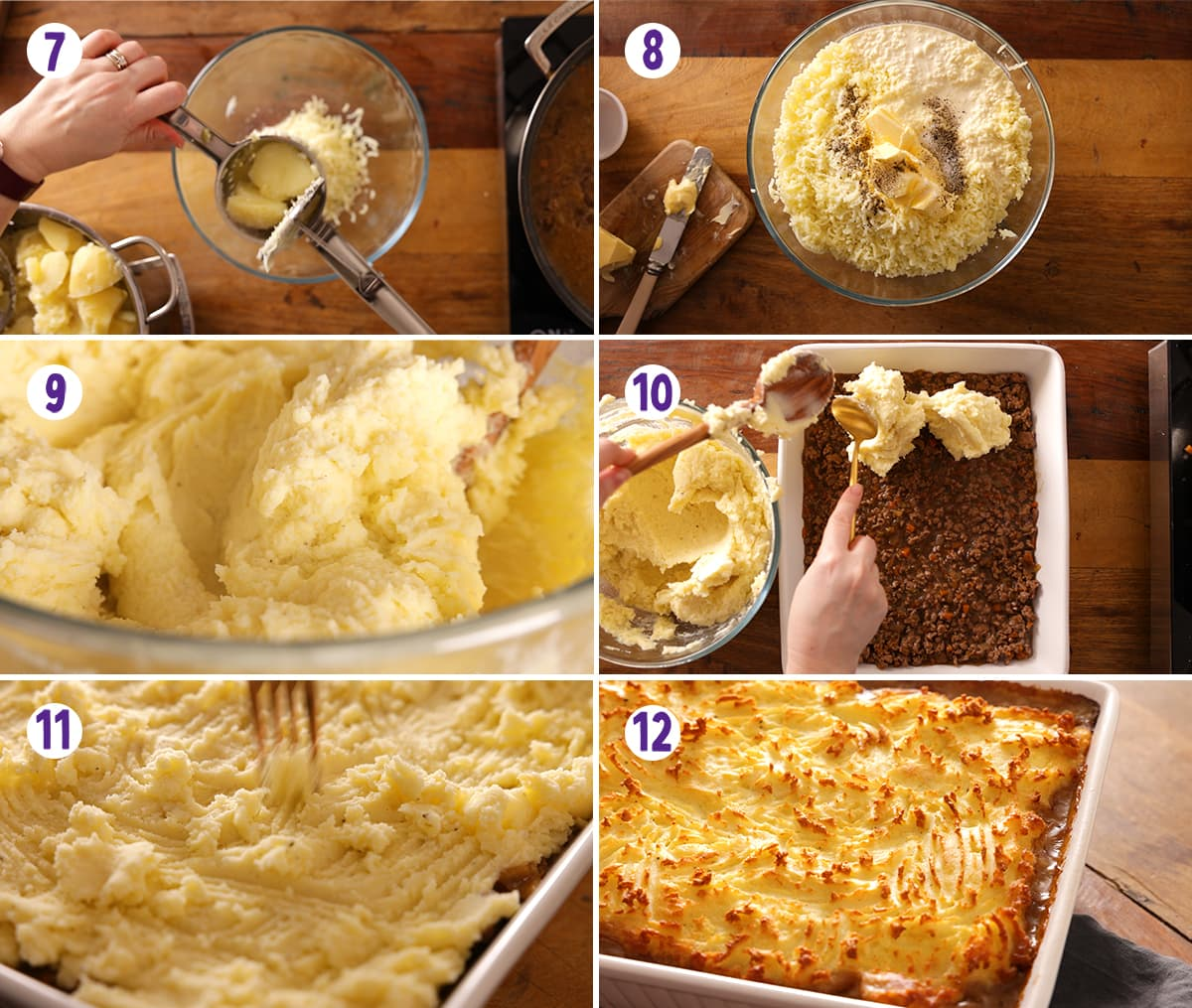 6 image collage showing the final steps for making shepherds pie.