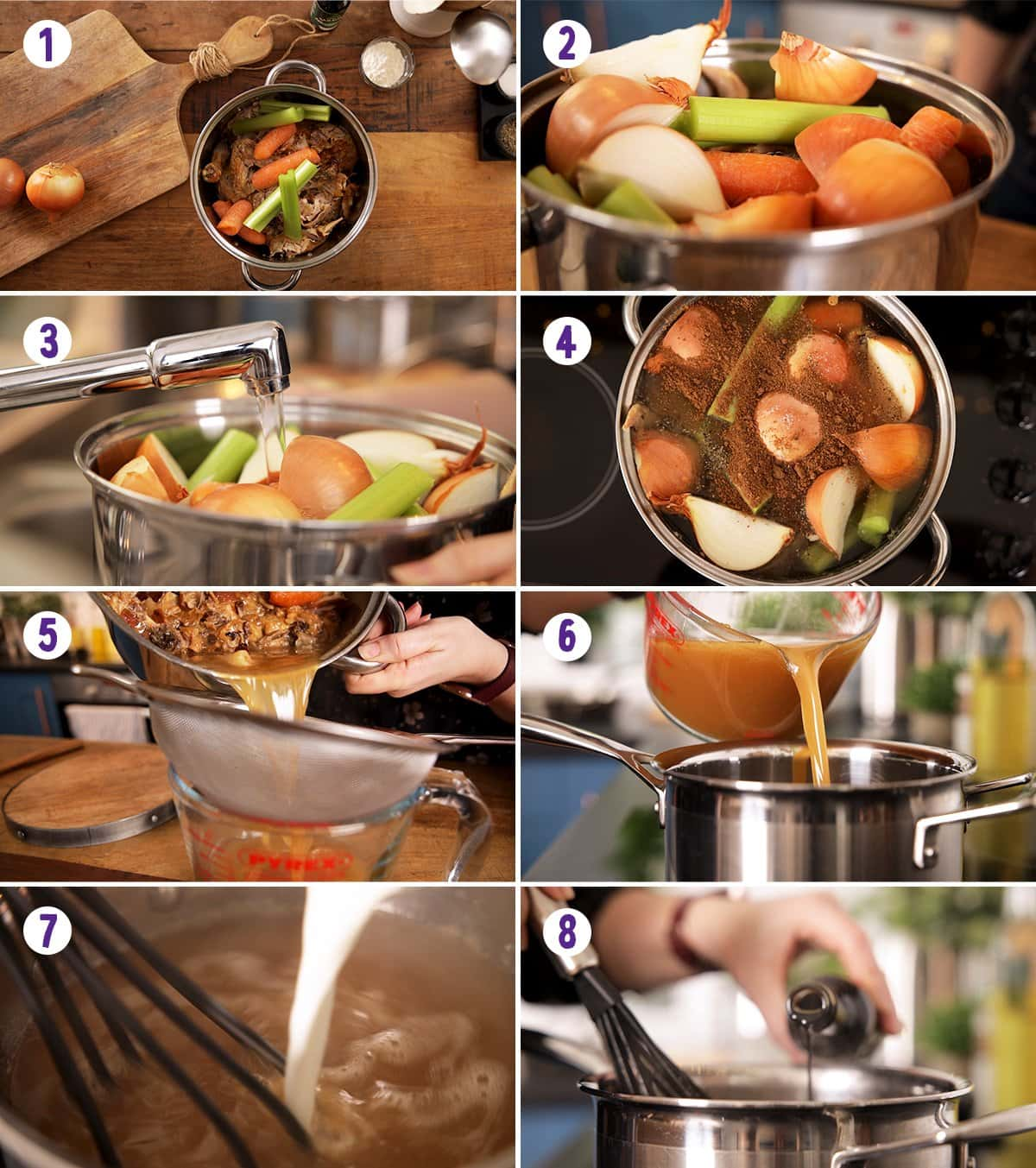 8 image collage showing how to make make-ahead Christmas gravy