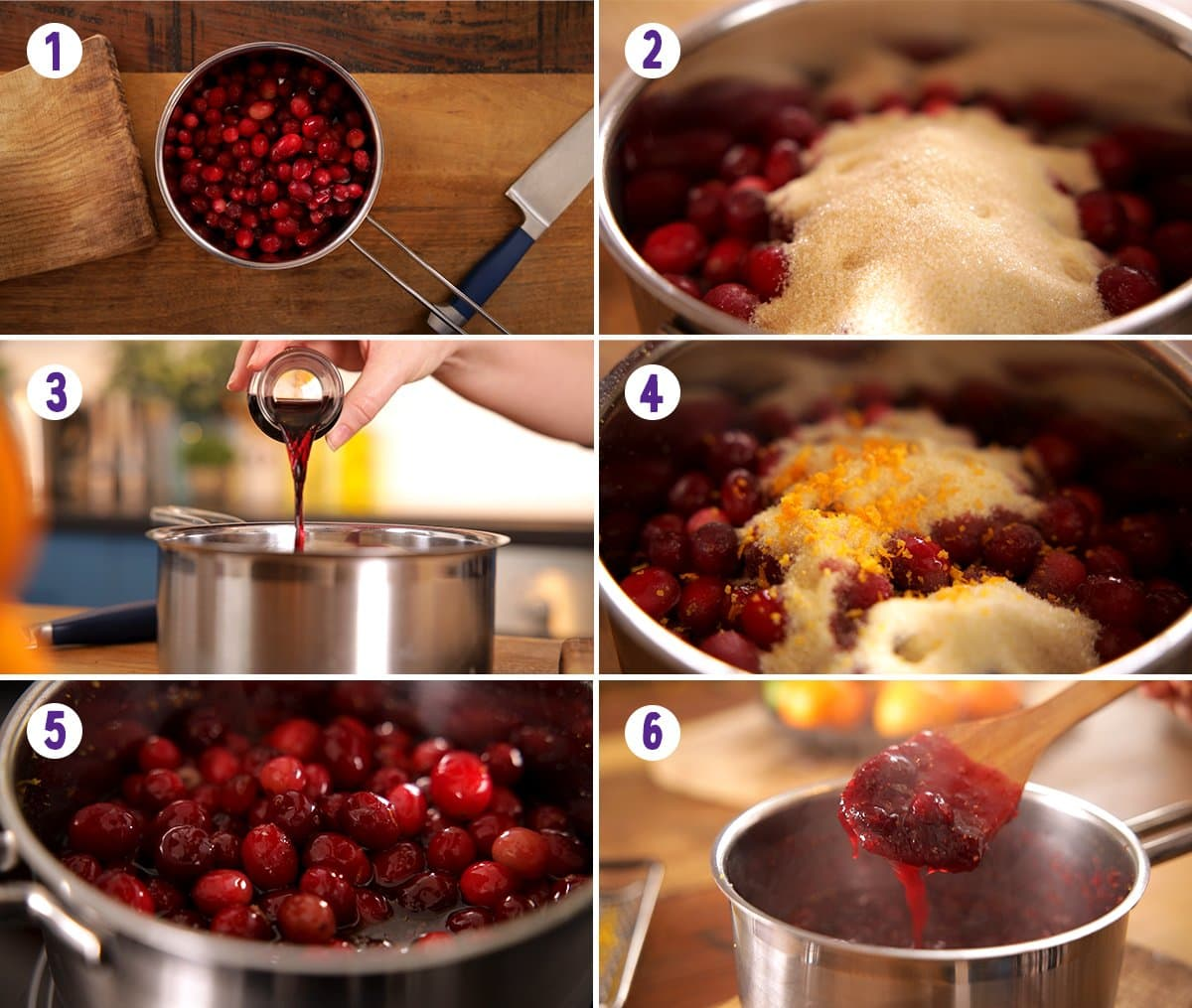6 image collage showing how to make cranberry sauce
