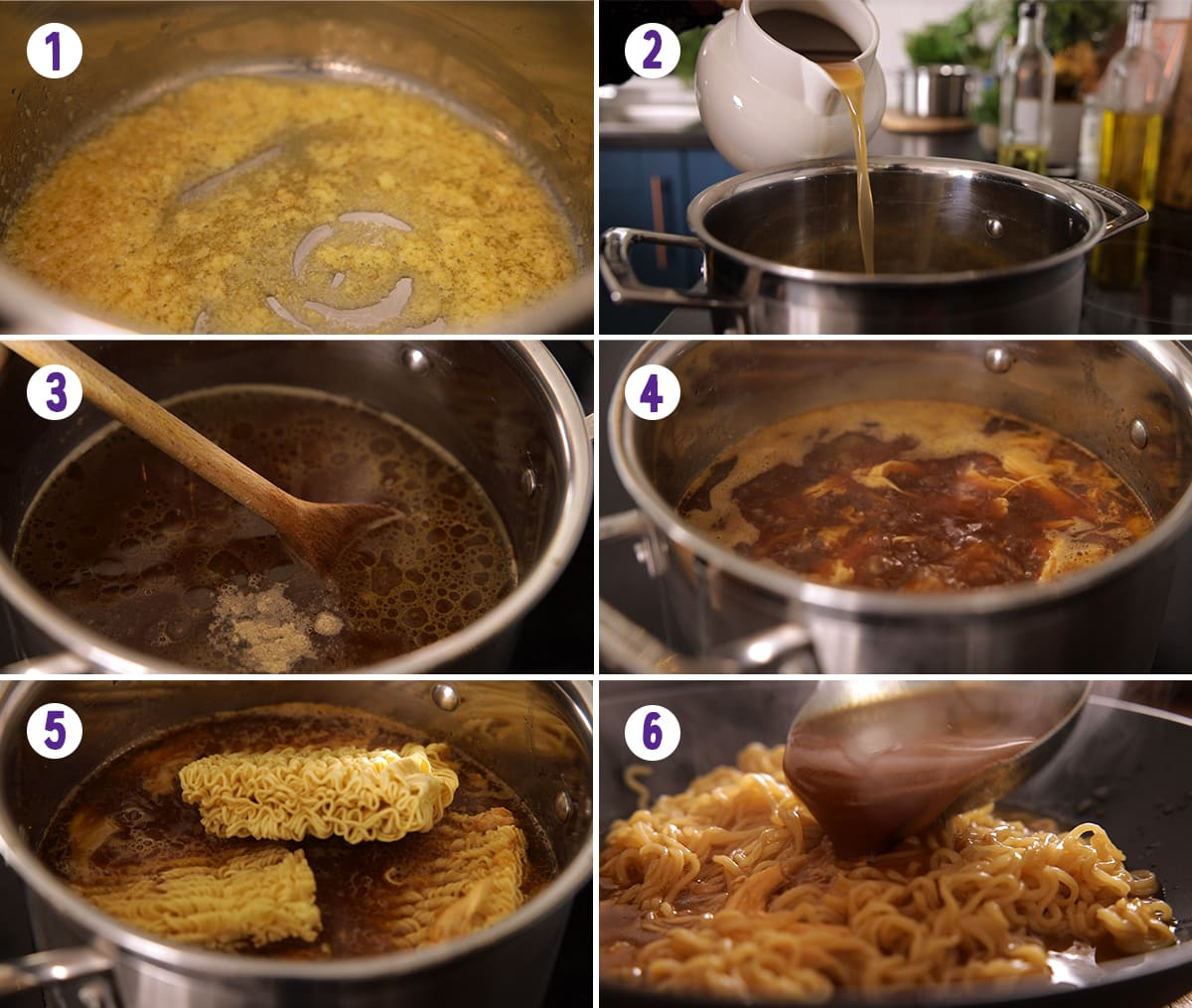 6 image collage showing how to make easy chicken ramen
