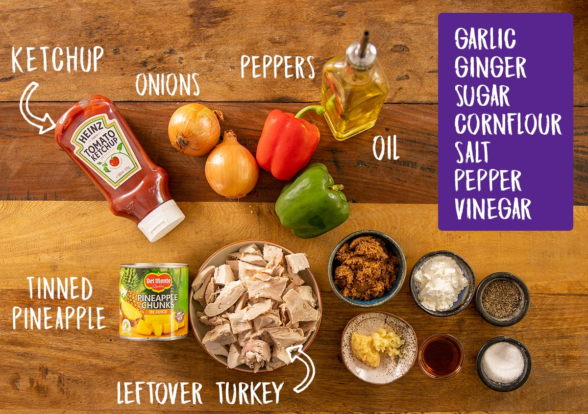 Ingredients for Sweet and sour turkey on a wooden table
