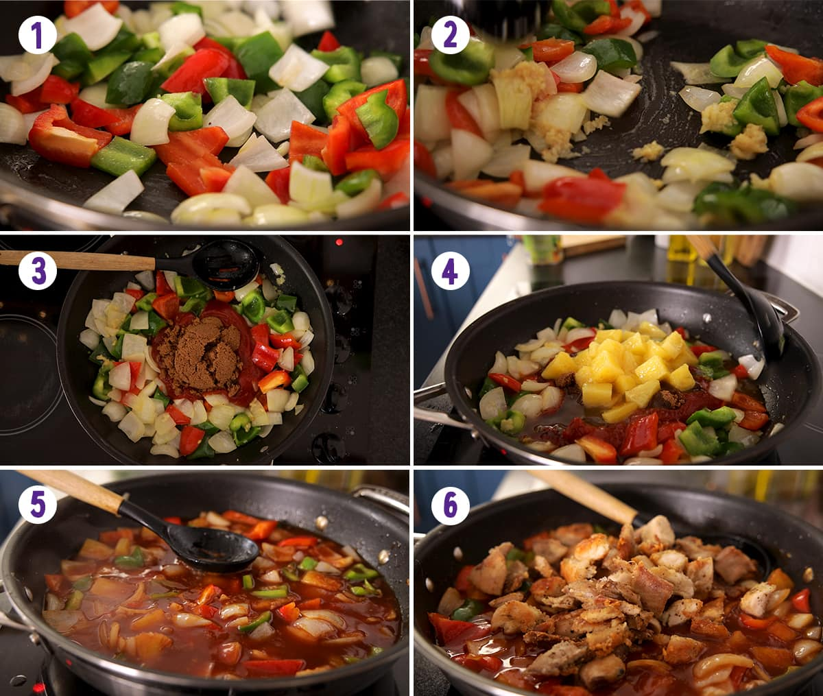 6 image collage showing how to make the sauce and finish off the dish for Sweet and sour turkey