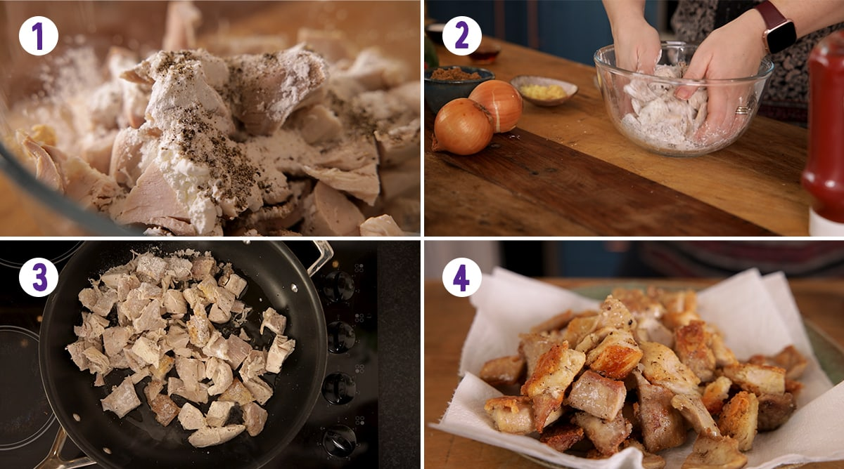 4 image collage showing how to coat and fry the turkey for Sweet and sour turkey