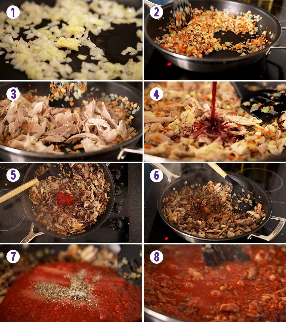 8 image collage showing how to make leftover turkey bolognese