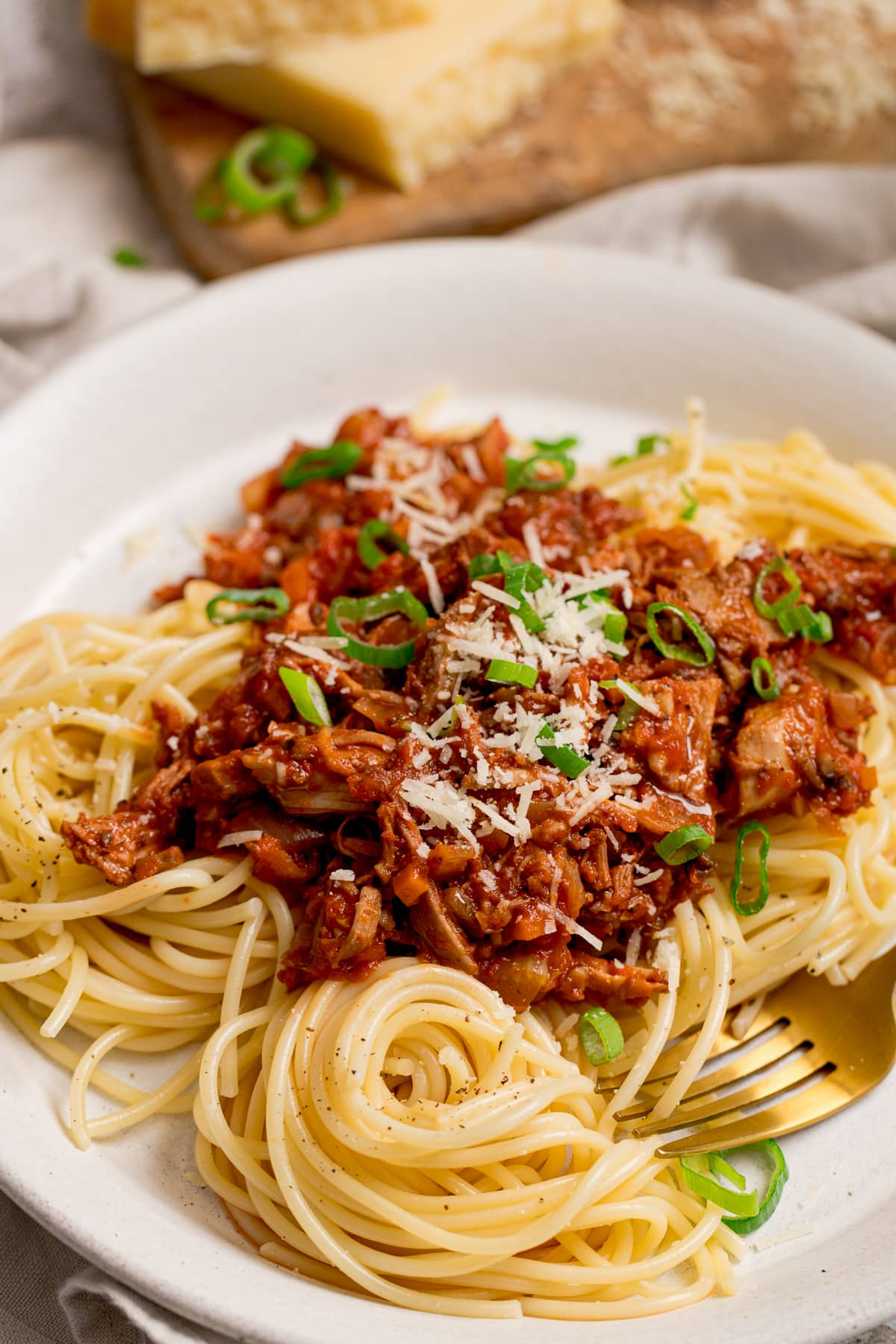 leftover turkey bolognese on a white plate with spaghetti. Topped with spring onions.