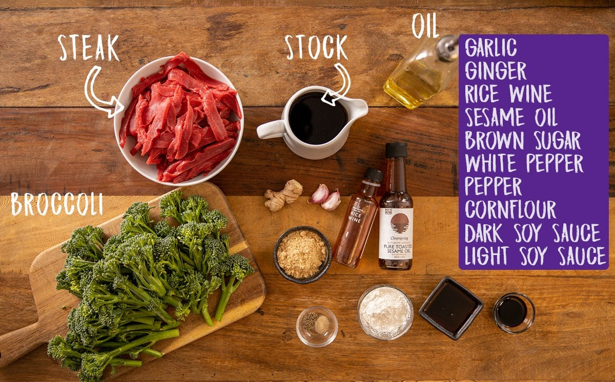 Ingredients for Chinese beef and broccoli on a wooden table.