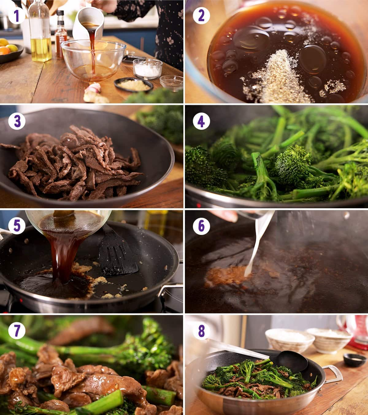8 image collage showing how to make beef and broccoli