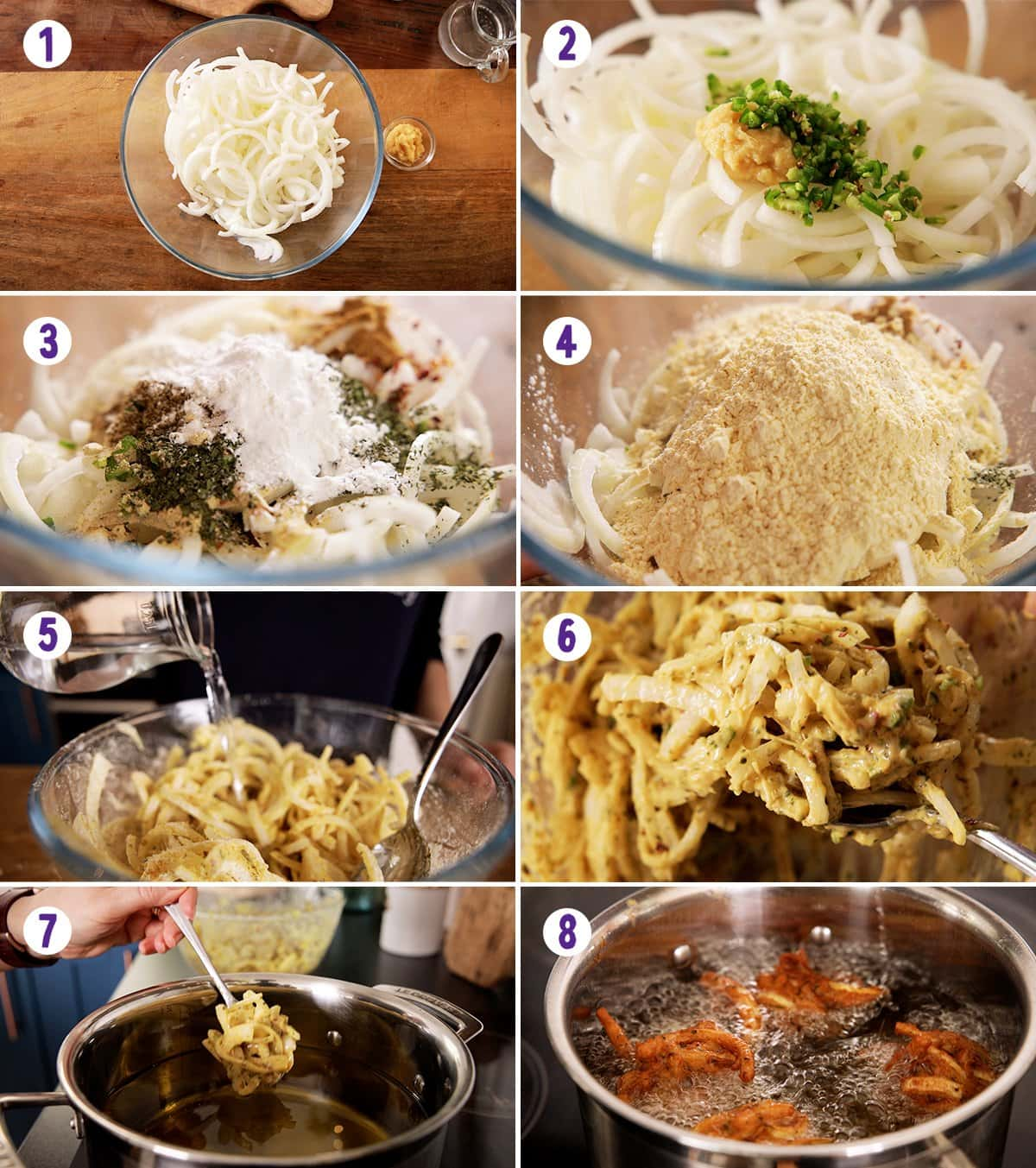 8 image collage showing how to make onion bhaji