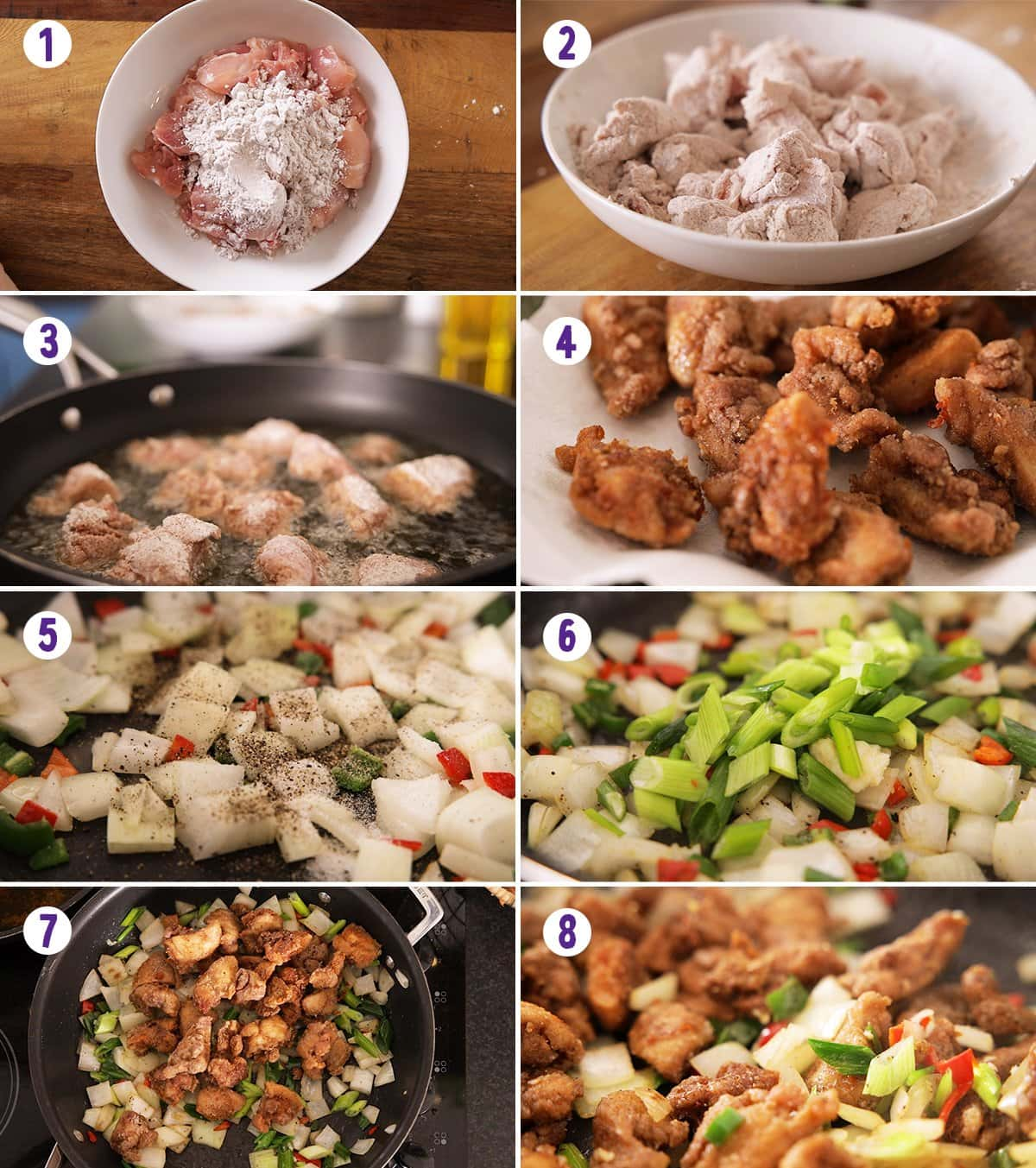 8 image collage showing how to makw salt and pepper chicken