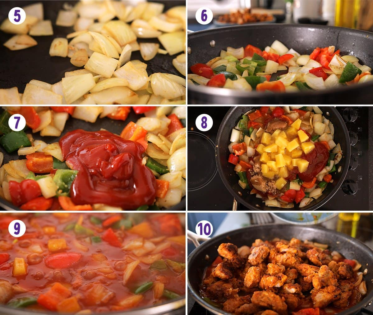 6 image collage showing how to make sweet and sour pork