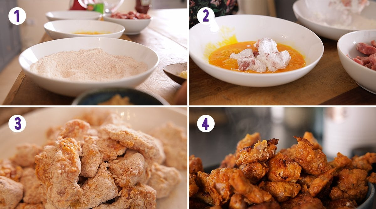 4 image collage showing how to make crispy pork for sweet and sour pork