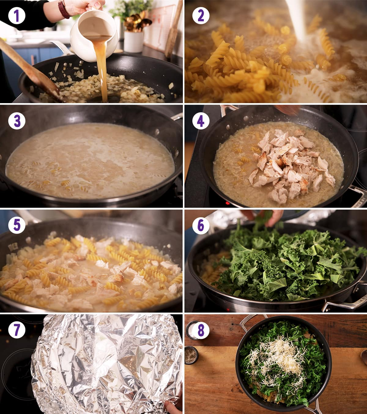 8 images in a collage showing the process of making a chicken pasta recipe.