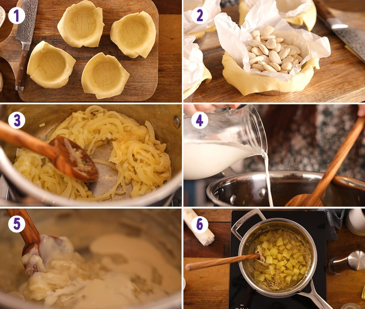6 image collage showing initial process steps for making individual cheese and onion pies.