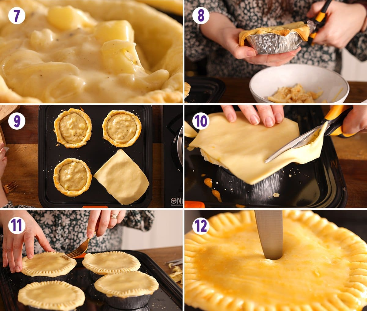 6 image collage showing final process steps for making individual cheese and onion pies.