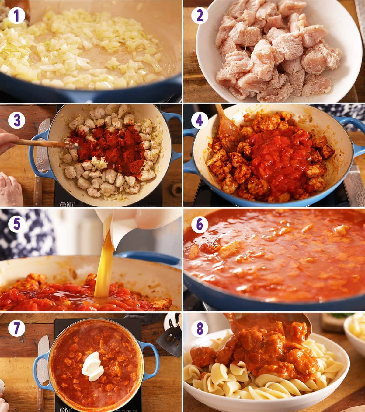 8 image collage showing how to make chicken paprikash