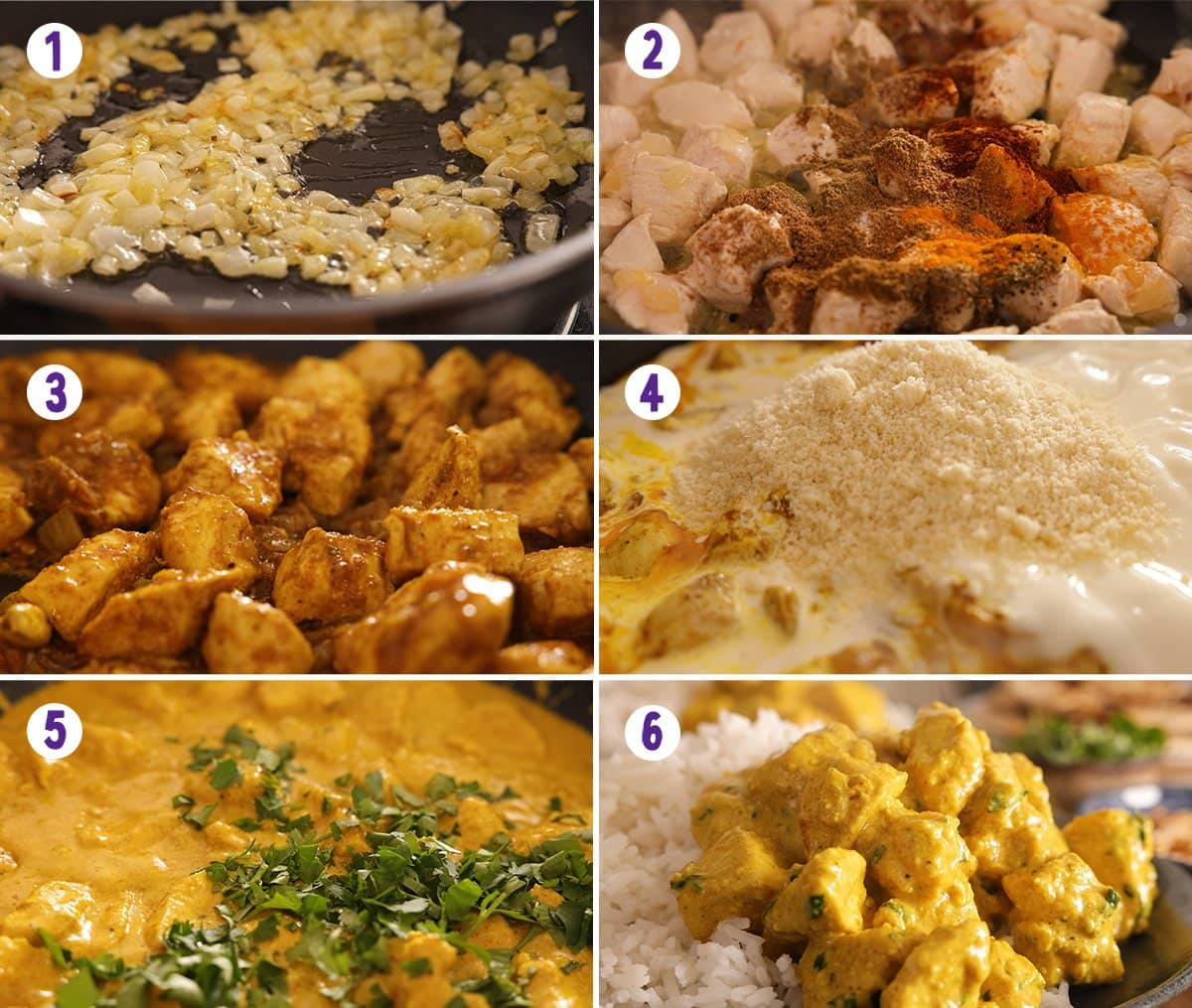 6 image collage showing how to make chicken pasanda.
