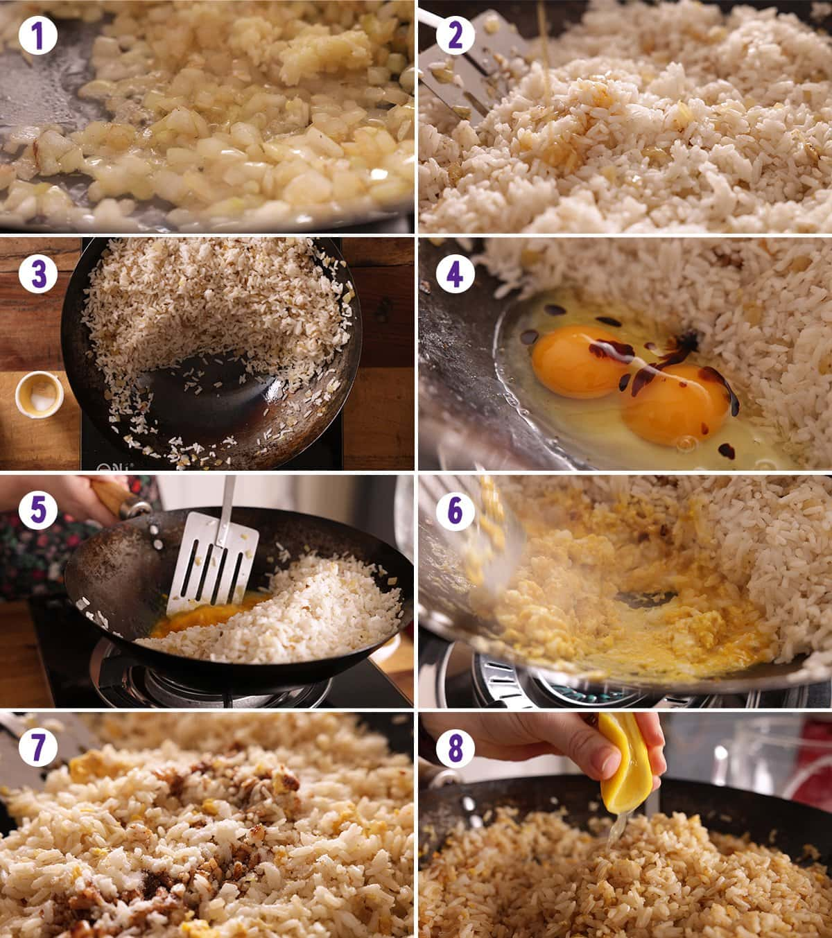 8 image collage showing how to make egg fried rice.