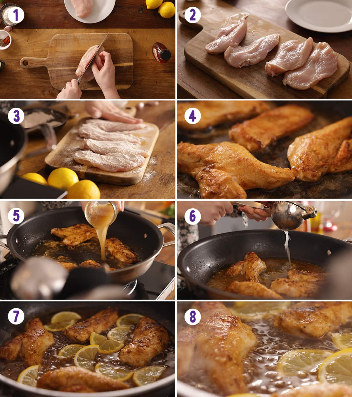 6 image collage showing how to make honey lemon chicken.