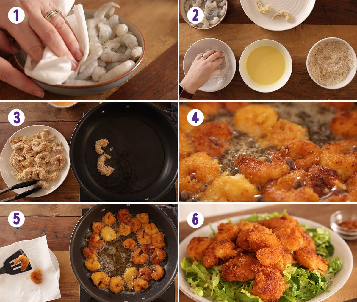 6 image collage showing how to make crispy prawns.