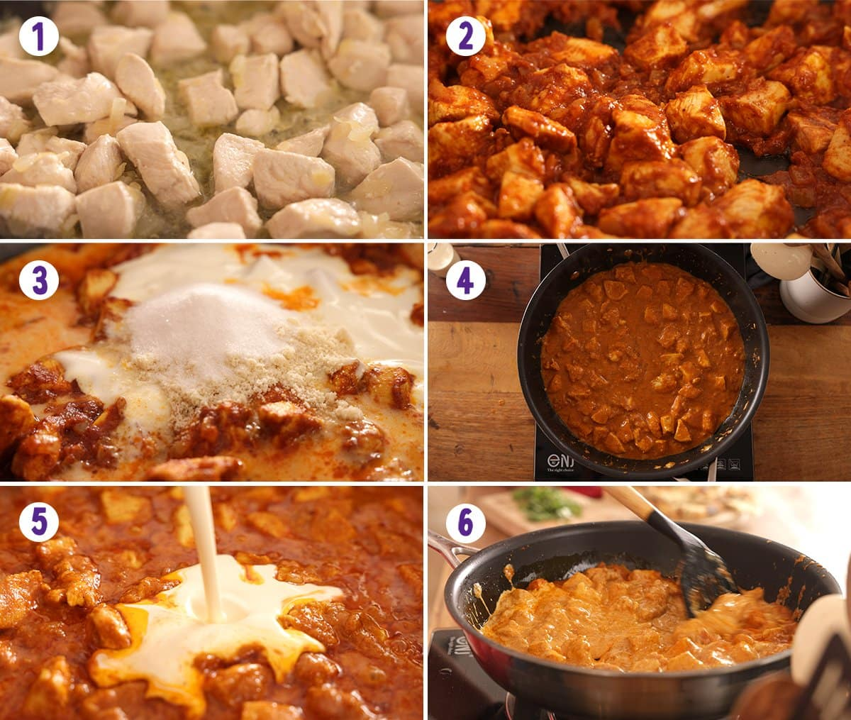 6 image collage showing how to make chicken korma