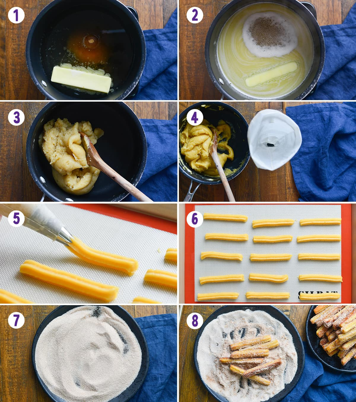 Collage of 8 images showing the process of making churros.