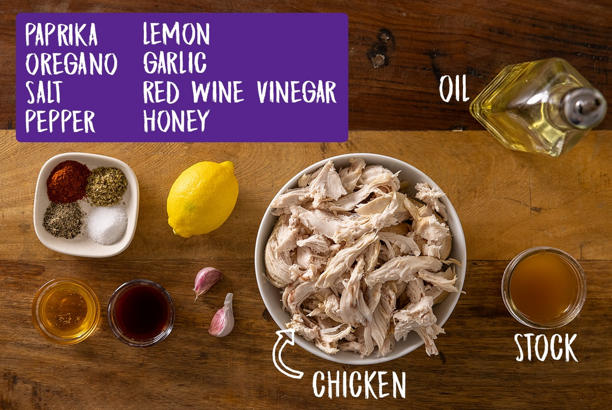 Ingredients for easy chicken gyros on a wooden board with written labels identifying each ingredient.