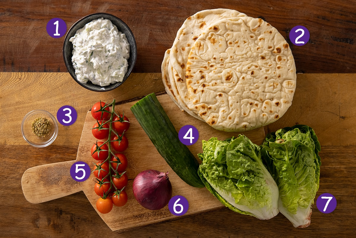 Overhead photo of Tzatziki, flatbreads and salad ingredients on a wooden background with numbers .