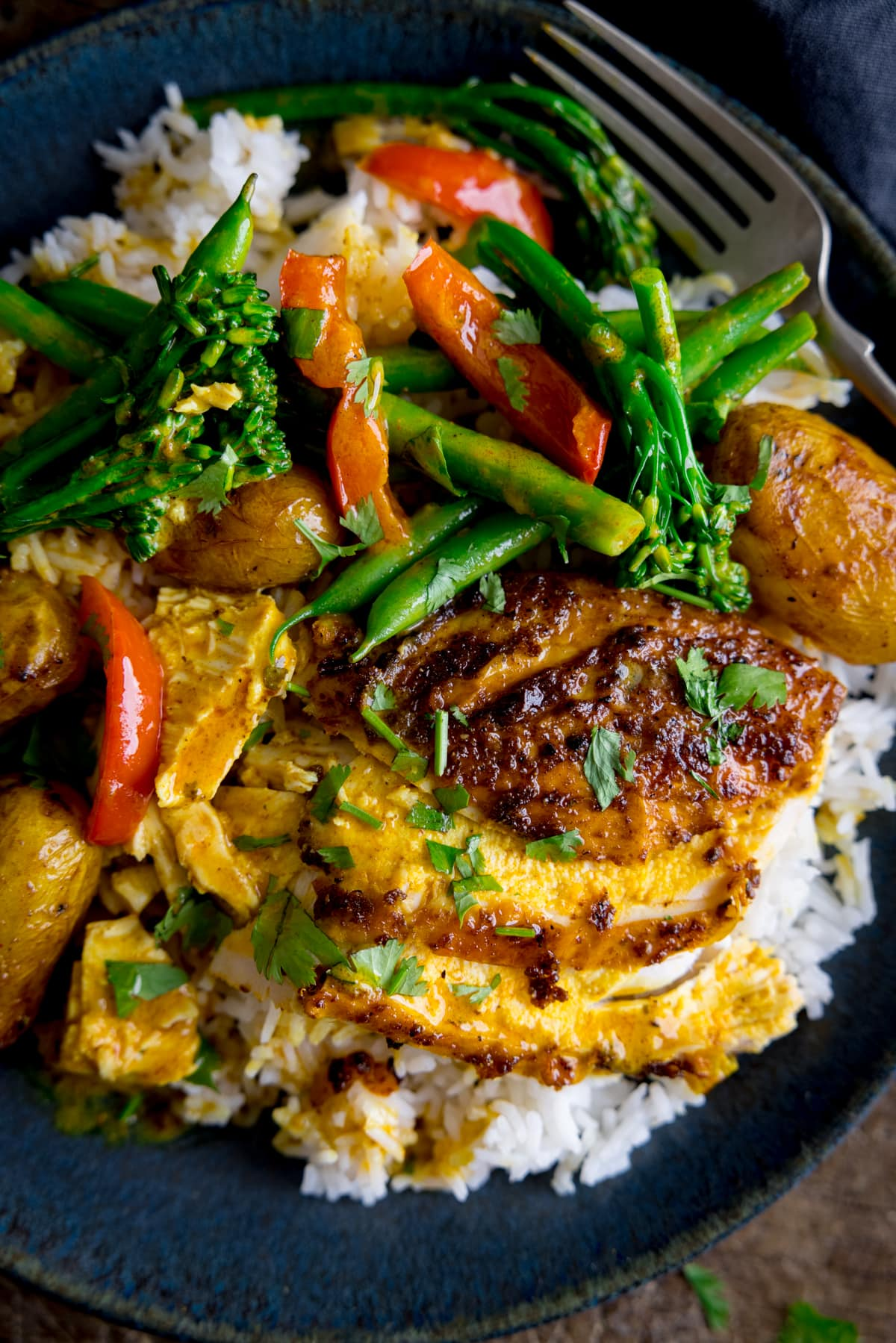 Slices of curry roast chicken on top of boiled rice with vegetables, all on a dark plate