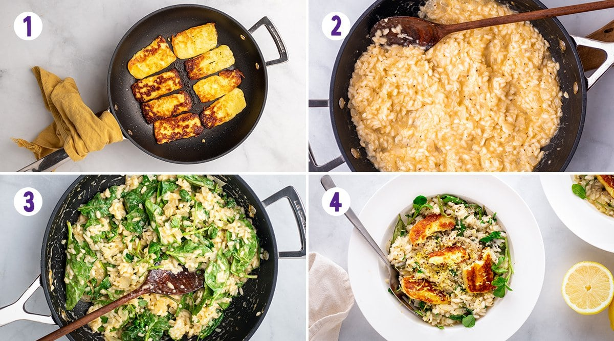 A collage of 4 images showing the process of making herby lemon risotto and fried halloumi.