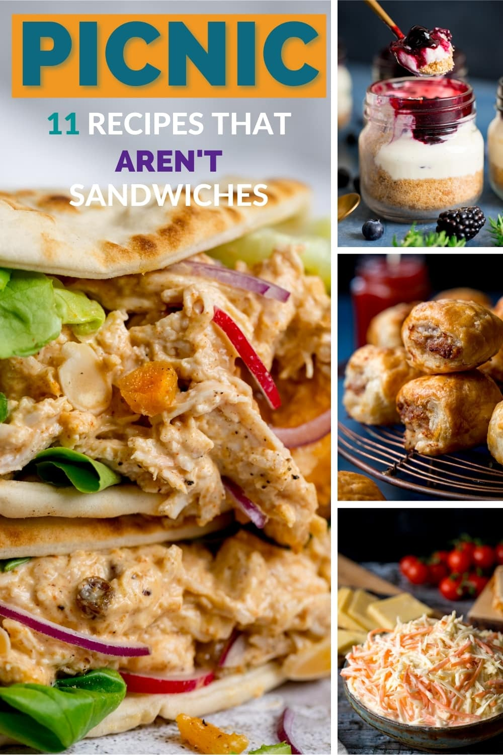 Collage of 4 images showing some picnic food ideas.