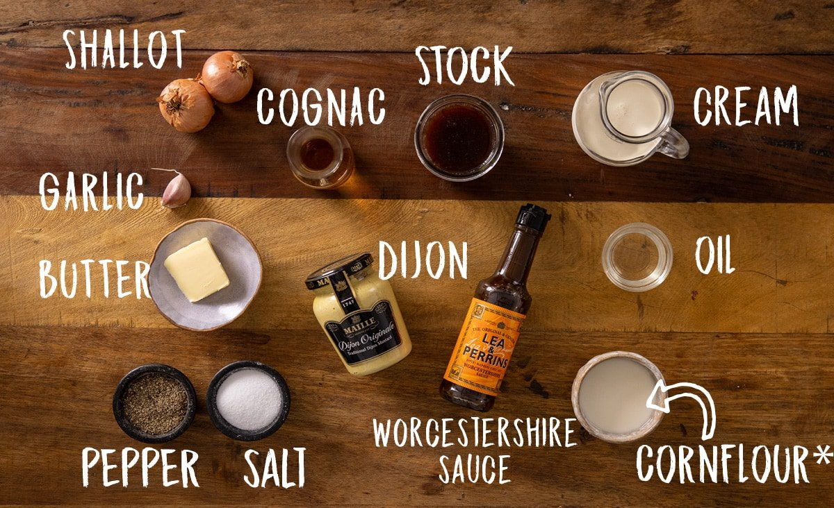 A wooden table with all of the ingredients laid out and labelled