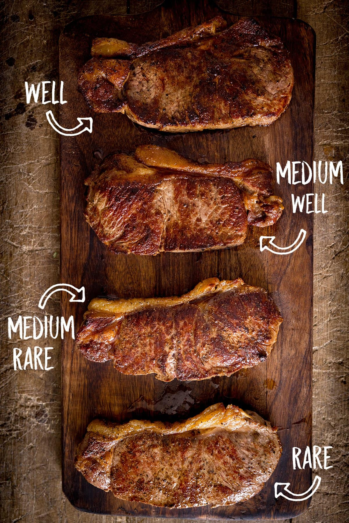 Overhead picture of 4 cooked steaks on a wooden board showing 4 different levels of cooking labelled well, medium well, medium rare and rare.